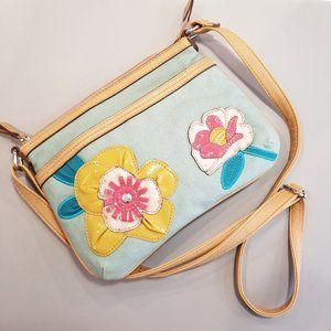 RELIC flower embroidered shoulder purse blue